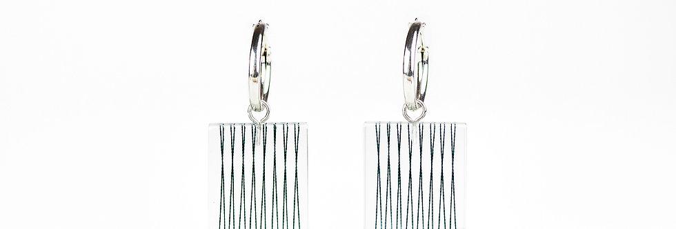 Parallel Stings in Resin Hoop Earrings