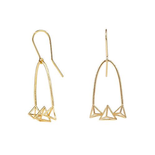 Vermeil Triple Triangle Hoop Earrings