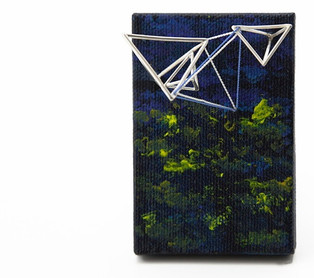 """Stretched canvas, brass, acrylic paint, silk thread and sterling silver 3"""" x 2"""" 1.6"""""""