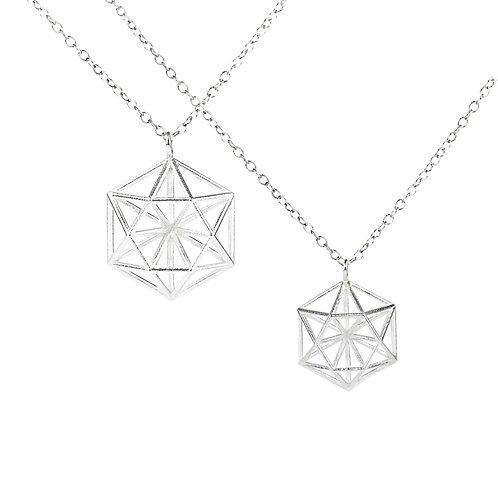 3D Hexagon Pendant Necklace