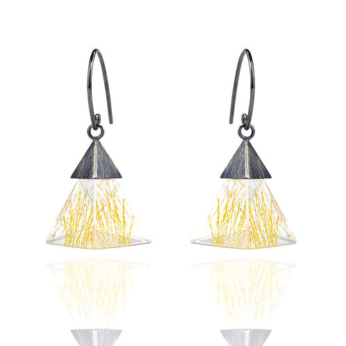 Small Resin Dangle Earrings in Oxidized Silver with Gold Strings
