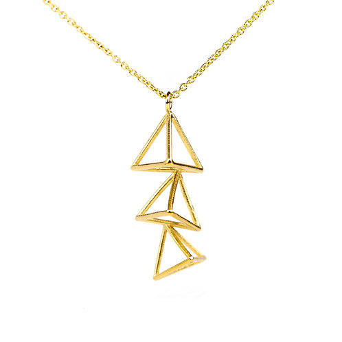 Small Vertical Triple Triangle Necklace inVermeil/Silver