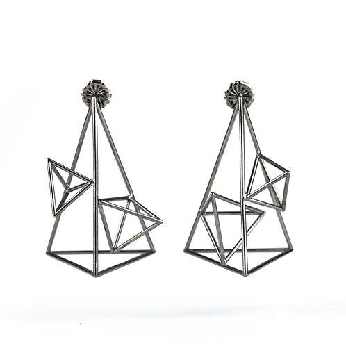 Asymmetrical 3D Triangle Statement Earrings