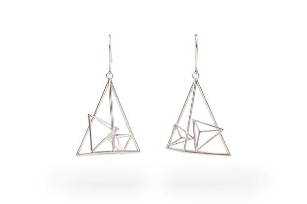 Unsymmetric Sterling Triangular Pyramid Earrings