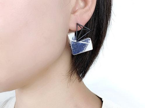Asymmetric Brush Pattern on Wood Stud Earrings