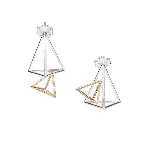 Double Triangle Stud Earrings in Sterling& Gold