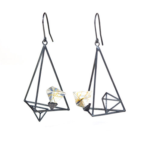 Oxidized Silver Triangle Dangle Earrings with Resin