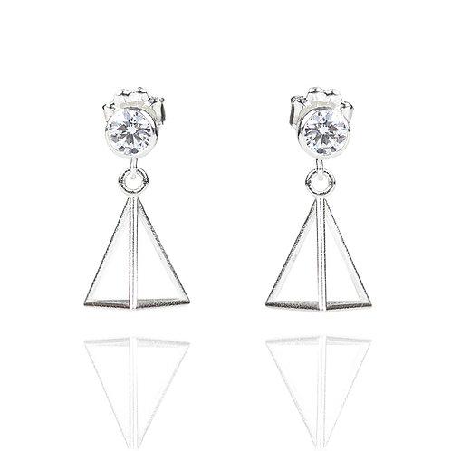 4mm Cubic Zirconia Triangle Drop Earrings