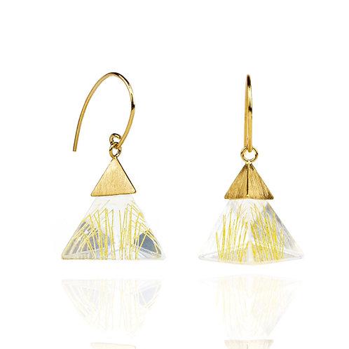 Small Resin Dangle Earrings in Vermeil with Golden Strings