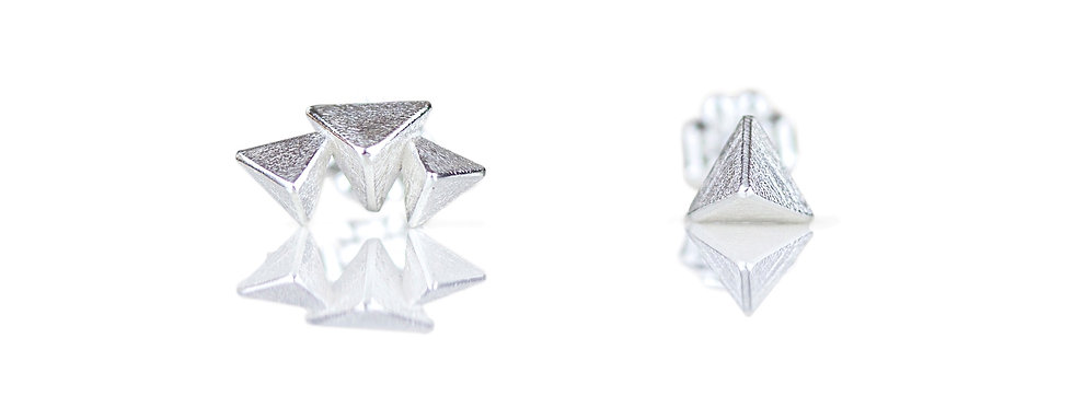 Asymmetric 3D Triangle Stud Earrings