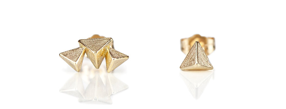 Mismatched 3D Triangle Stud Earrings in 14K Gold