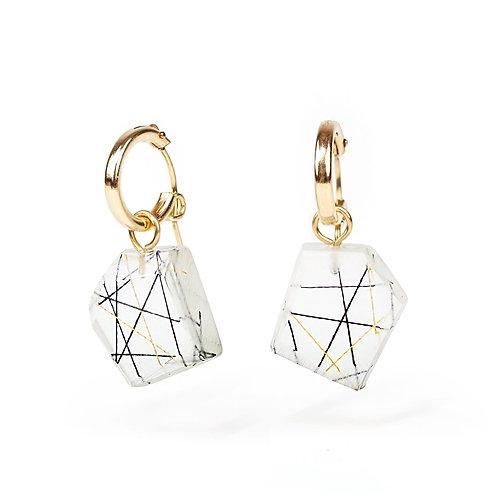 Polygon Resin Charm Hoop Earrings