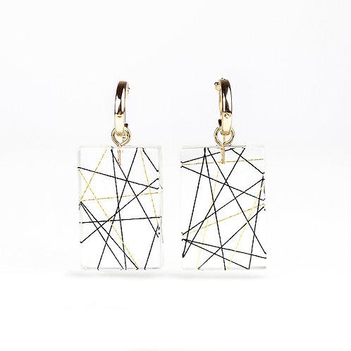 Cross Strings in Resin Hoop Earrings