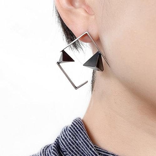 Square Framed Triangles Earrings