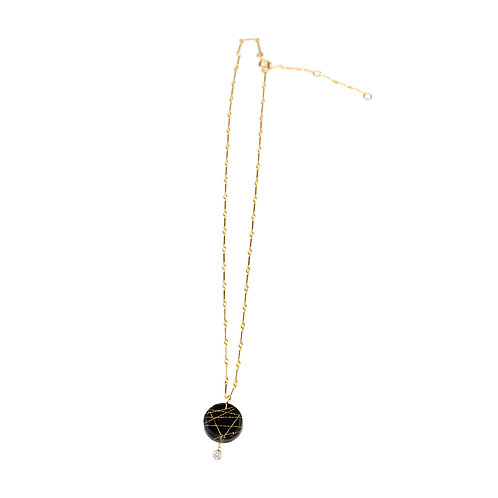 Cubic Zirconia Double Layer Resin Necklace