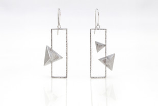 """Sterling silver with white rhodium coating 2.38"""" x 0.88"""""""