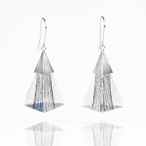 Triangle Resin Dangle Earrings with Black Thread