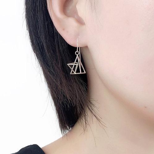 Double Triangle Dangle Earrings in Sterling Silver