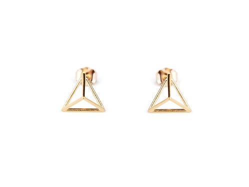 14K Gold Petite Triangle Stud Earrings