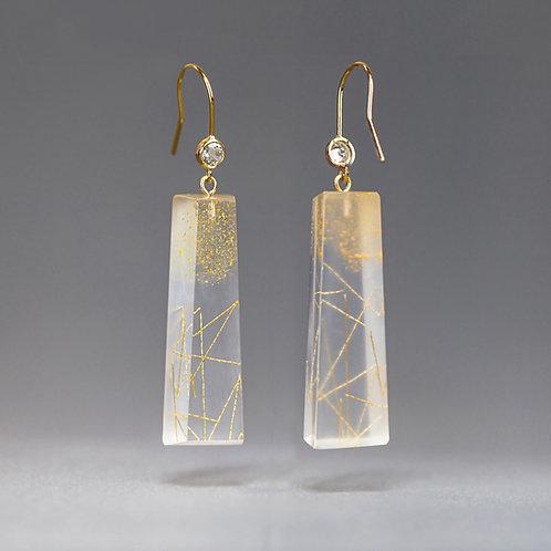 Cubic Zirconia Long Resin Dangle Earrings