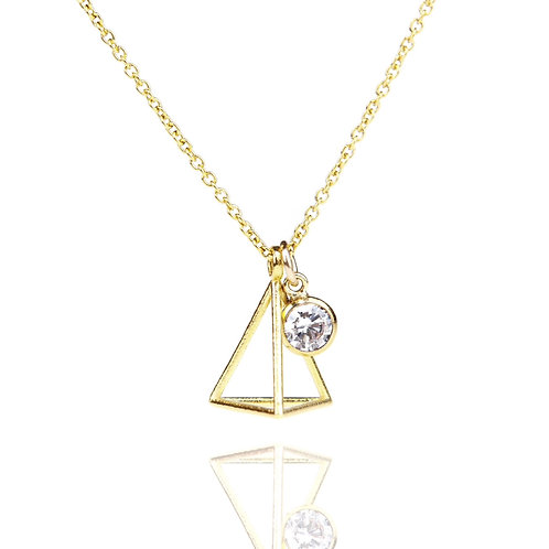 Gold Cubic Zirconia and Triangle Charm Necklace
