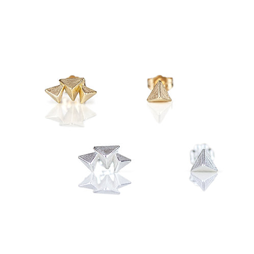 Mismatched 3D Triangle Stud Earrings in Sterling Silver/ Vermeil