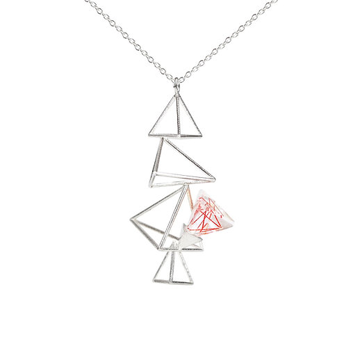 Vertical Triangle Necklace with Resin