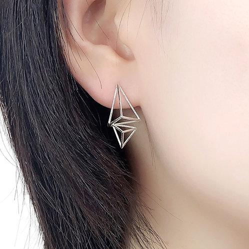 Double Triangular Pyramid Stud Earrings