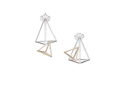 Double Triangular Pyramid Stud Earrings/ Sterling& Gold