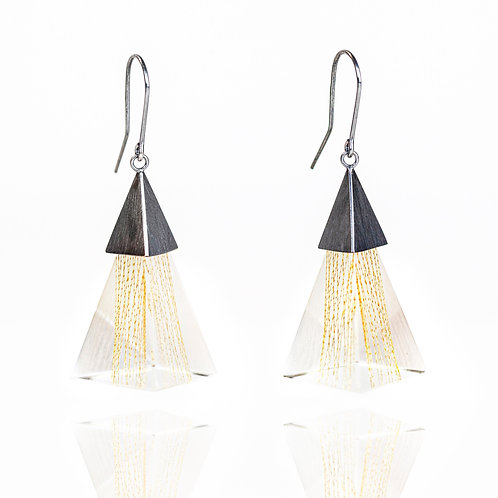 Triangle Resin Dangle Earrings with Gold Thread