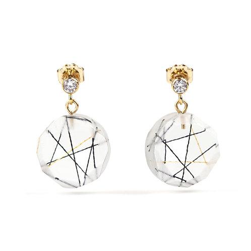 Cubic Zirconia Round Resin Drop Earrings