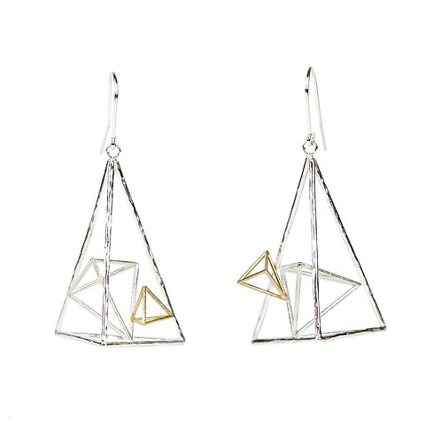 Asymmetric Triangle Dangle Earrings in Silver and 14k Gold