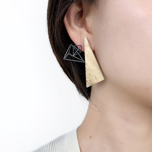 Large Natural Wood Stud Earrings