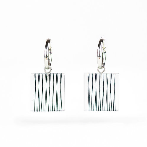 Parallel Stings in Resin Hoop Earrings