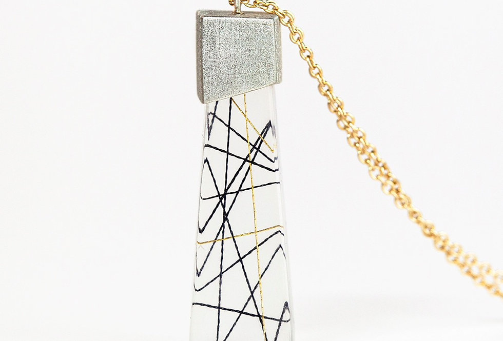 Cross Strings in Resin Necklace