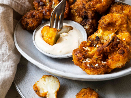 Cauli Wings with Cashew Sour Cream Dipping Sauce