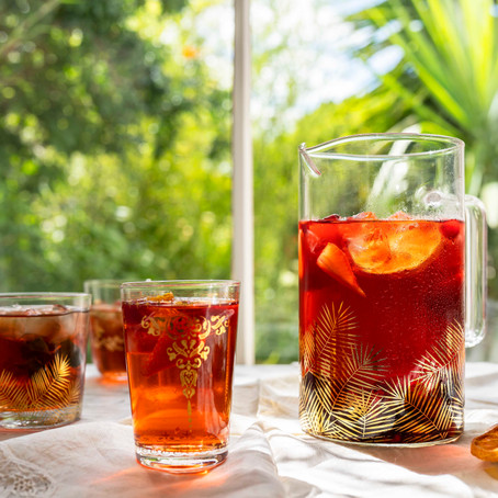 Rosehip and hibiscus ice tea