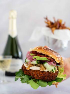 Smoky Vegan Burger with Sweet Potato Fries