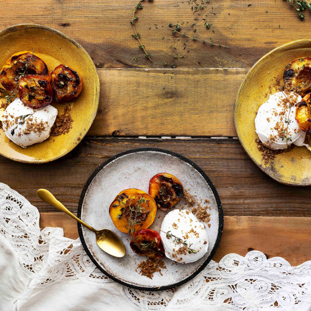 Sticky Baked Peaches and Nectarines with Coconut Yoghurt and Walnut Cinnamon Crumb