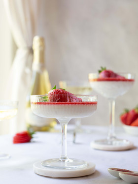 Coconut & Lime Panna Cotta with Strawberry Coulis