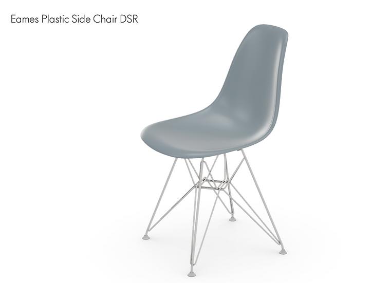 VITRA | Eames Plastic Side Chair DSR (new dimension). Blue Grey