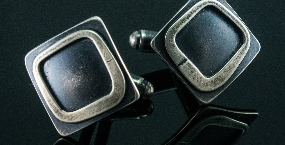 Silver Square Frame Cuff Links
