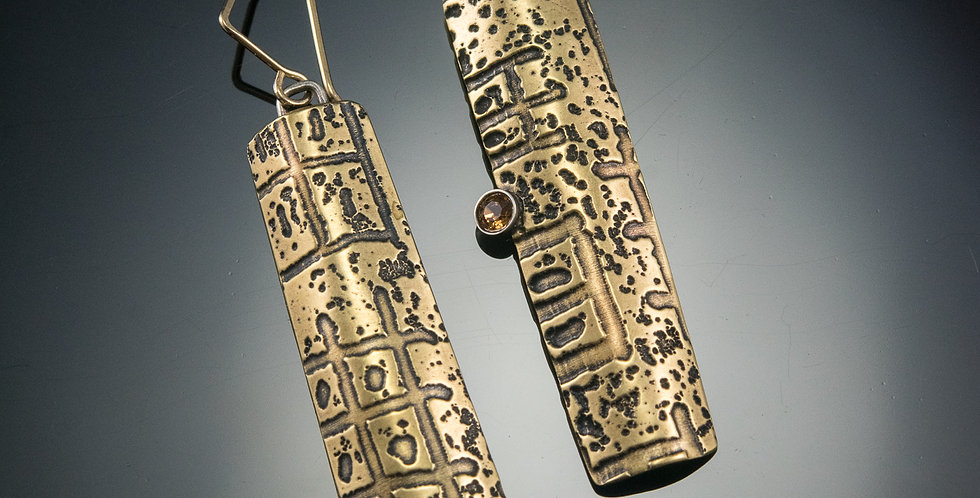Etched Brass Totem Earrings with Crystals