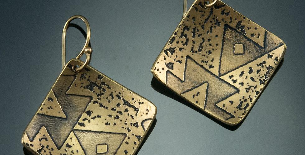 Medium Brass Square Tile Earrings in Wing Pattern