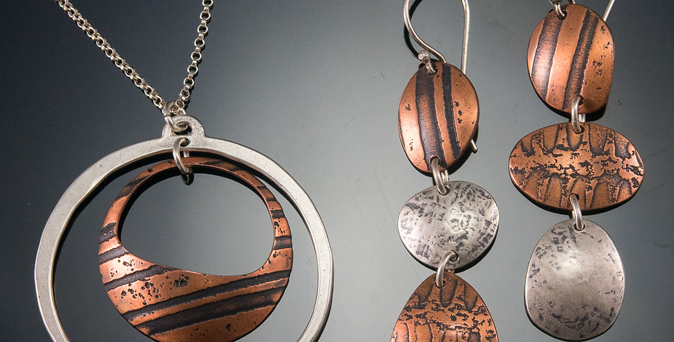 Copper & Silver Orbit Pendant and Stone Drop Earring Set