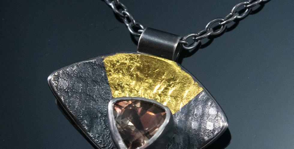 Tiny Black & Gold Sunstone Necklace
