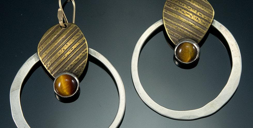 Tiger Eye Silver & Brass Orbit Hoop