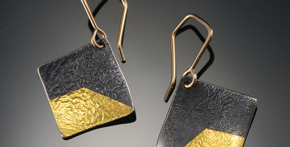 Black & Gold Small Square Earrings