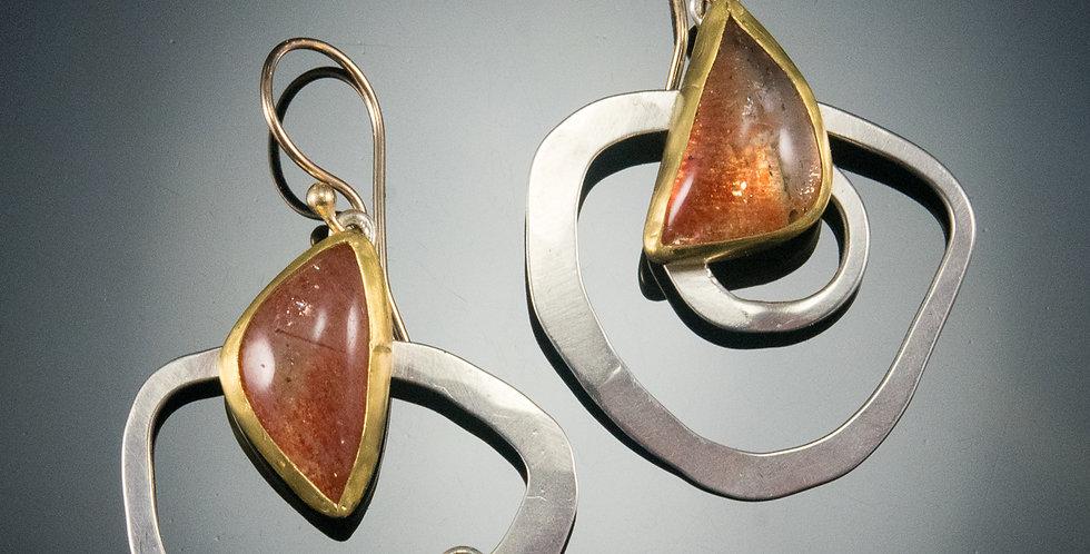 Sunstone Funky Hoop Earrings