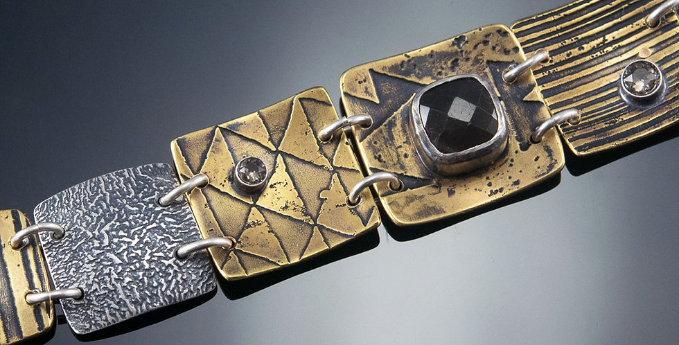 Square Tile Brass & Silver Bracelet with Moonstone